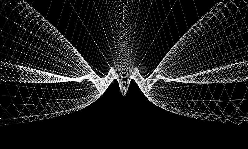 Comunicazione astratta del fondo del cavo Concetto futuristico scientifico E illustrazione di stock