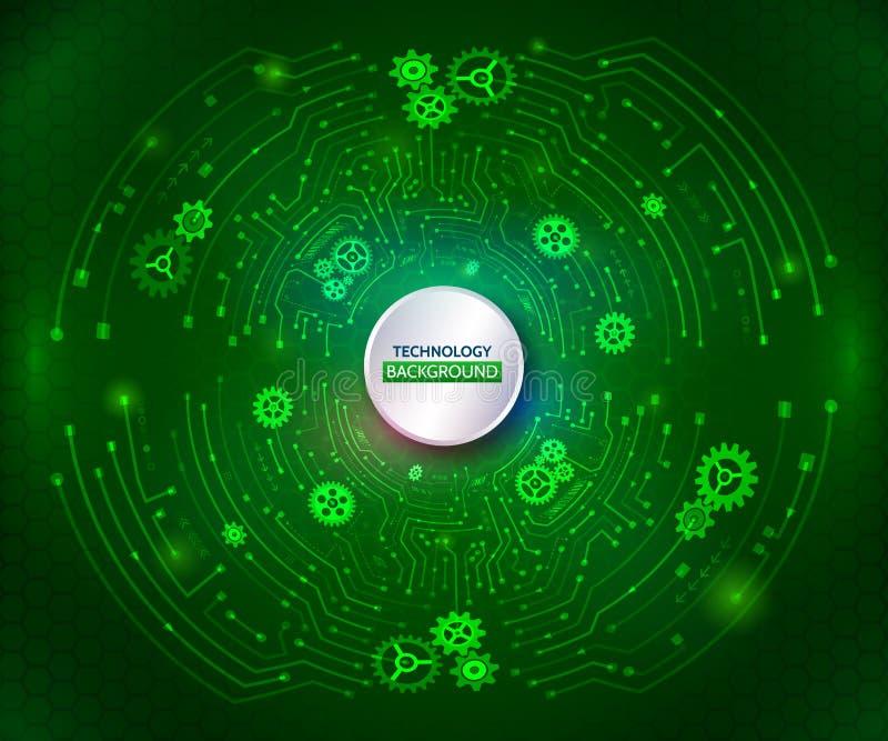 Comunicazione astratta di tecnologia sui precedenti verdi Ciao-te royalty illustrazione gratis