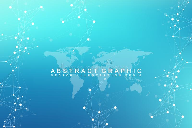 Comunicazione astratta grafica virtuale del fondo con la mappa di mondo Contesto di prospettiva di profondità Dati di Digital illustrazione di stock