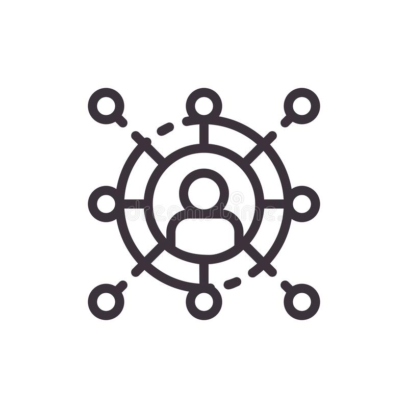 Comunicazione commerciale ed icona della rete illustrazione vettoriale