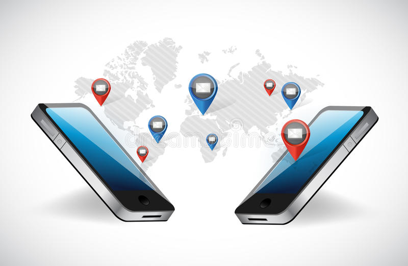 comunicazione del email della rete del telefono illustrazione vettoriale