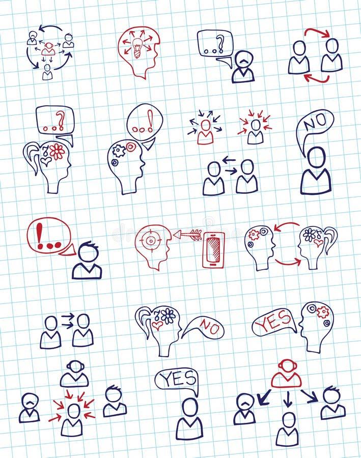 Comunicazione della gente di schema di scarabocchio con le icone illustrazione di stock