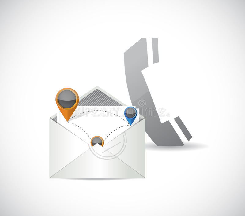 Comunicazione della rete del email e del telefono illustrazione vettoriale