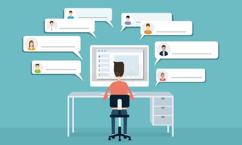 Comunicazione della rete sociale di vettore e rapporto d'affari illustrazione di stock