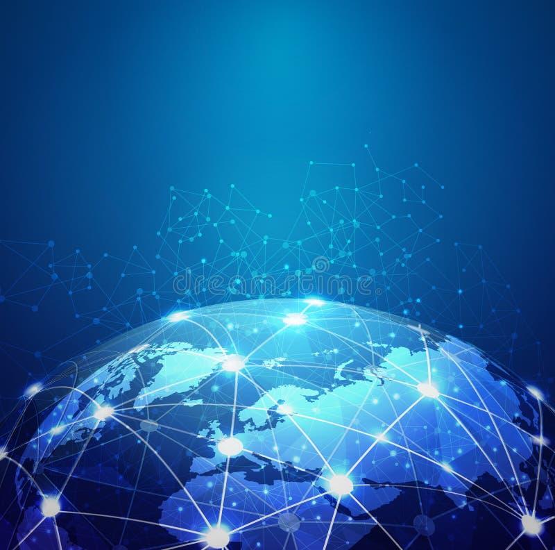 Comunicazione digitale della maglia del mondo e rete di tecnologia illustrazione di stock