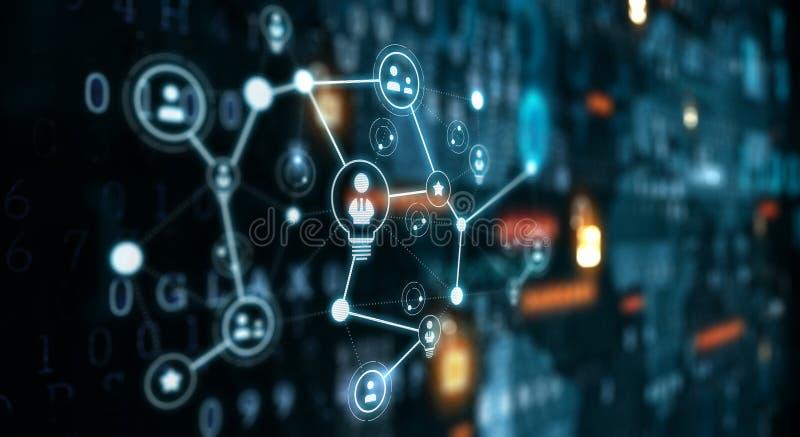 Comunicazione e rete sociali Media misti illustrazione vettoriale