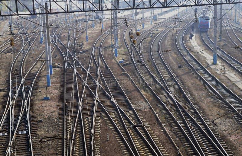 Comunicazione ferroviaria. Ramificazione delle rotaie. immagine stock libera da diritti