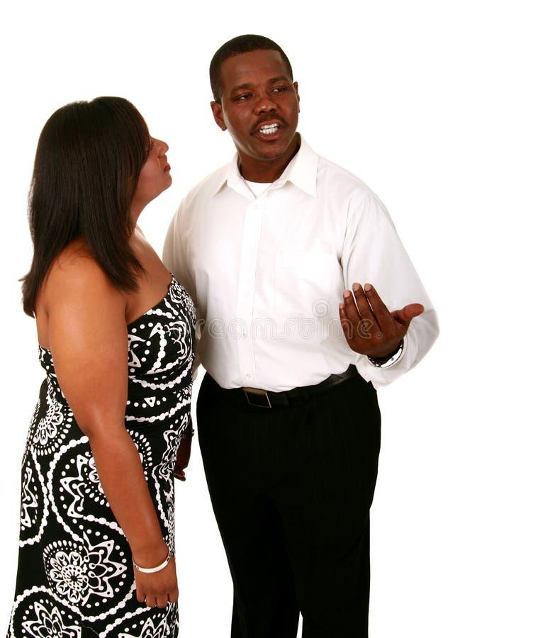 Comunicazione fra le coppie dell'afroamericano immagine stock libera da diritti