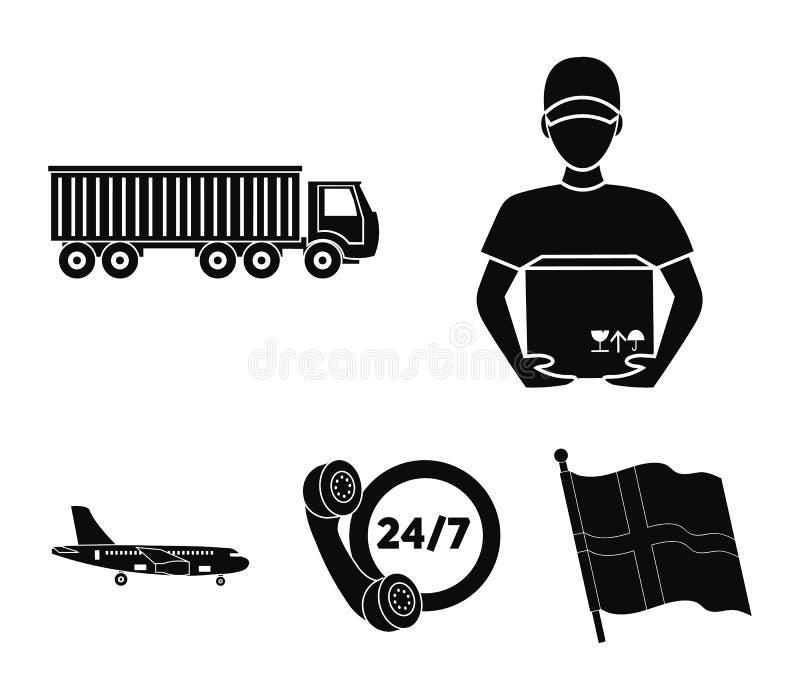 Comunicazione giorno e notte, corriere con la scatola, camion, aereo da carico Logisti, icone della raccolta del cset nel vettore illustrazione vettoriale
