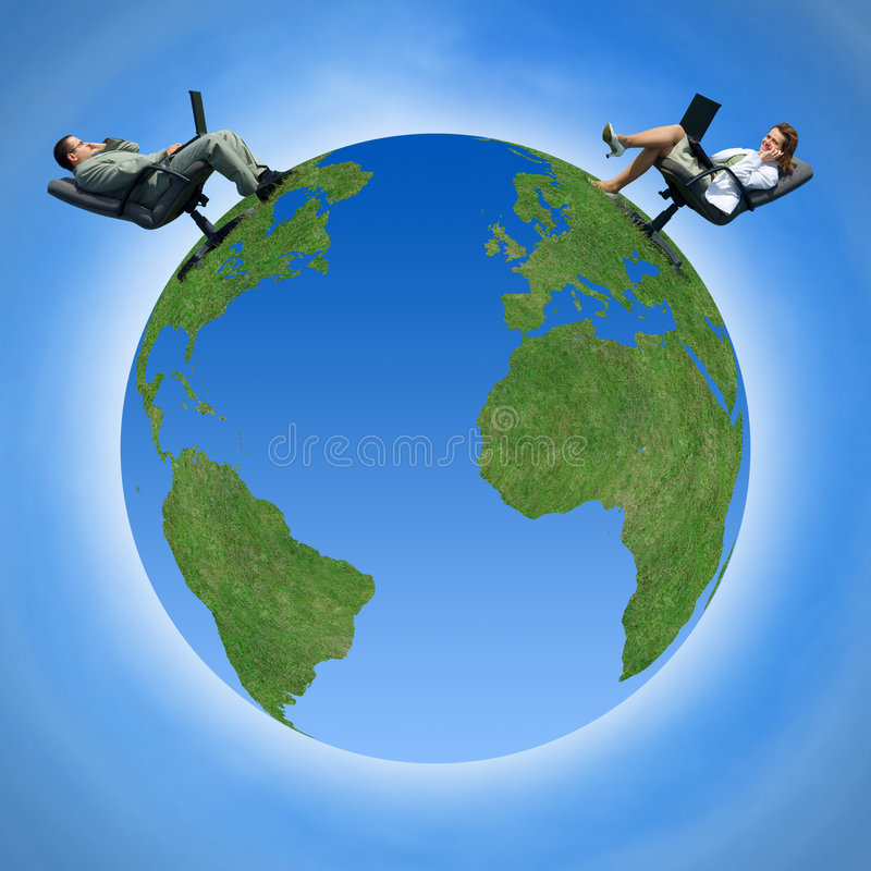 Comunicazione intorno al globo illustrazione vettoriale