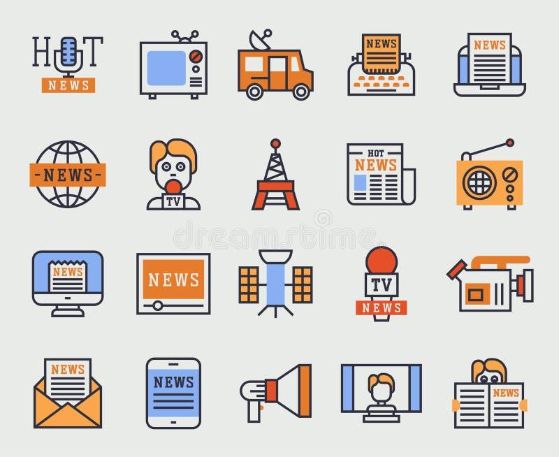 Comunicazione newsmaking variopinta del giornale di media del cellulare e della stampa dell'insieme di stile piano delle icone di illustrazione vettoriale