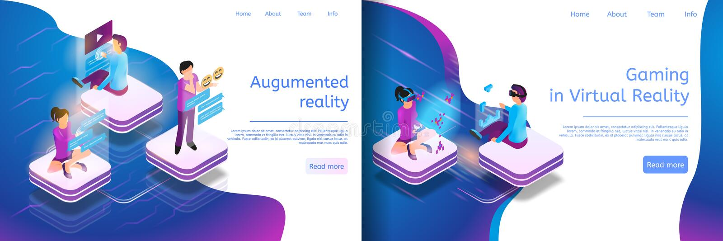 Comunicazione online isometrica, gioco virtuale royalty illustrazione gratis