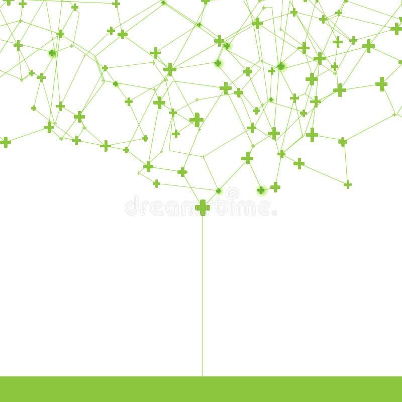 Comunicazione positiva astratta del segno dell'albero illustrazione vettoriale