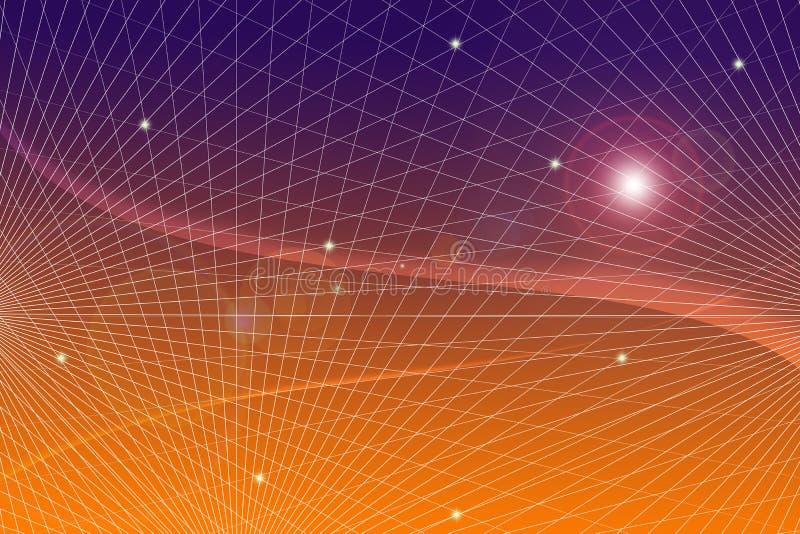 Comunicazione scientifica di tecnologia di informazione tecnica di griglia di pendenza della rete del fondo futuristico astratto  illustrazione vettoriale