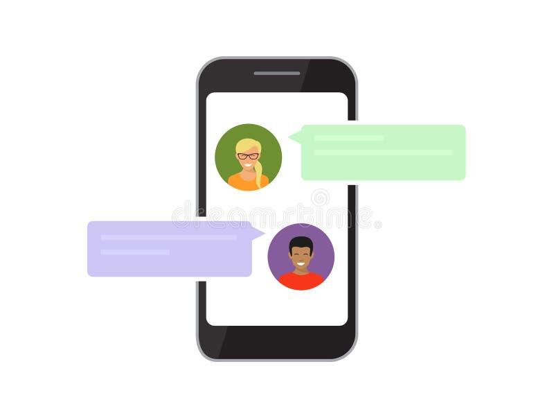 Comunicazione via chiacchierata mobile royalty illustrazione gratis