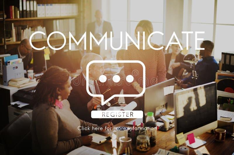 Comunichi il concetto del collegamento della tecnologia di discorso fotografie stock