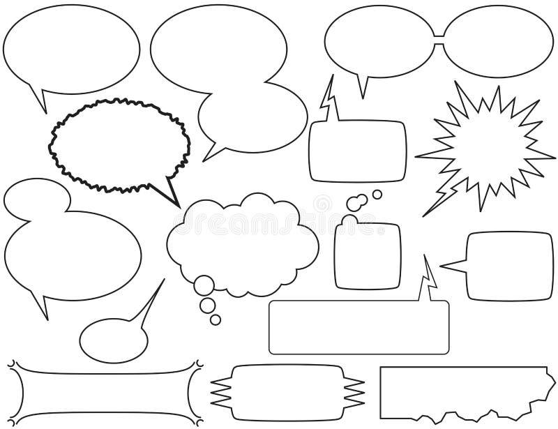 Comunichi le bolle e le caselle illustrazione vettoriale