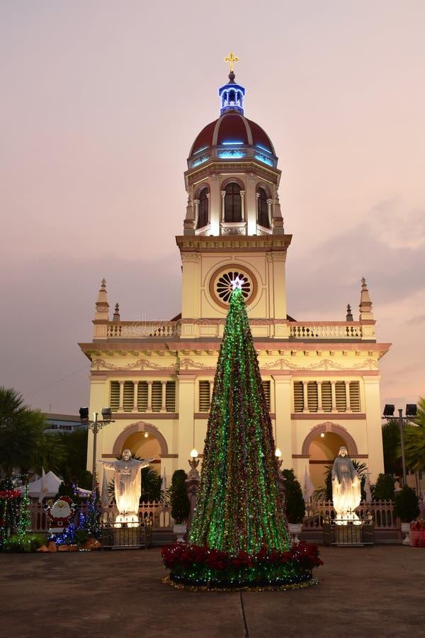 Comunidad antigua de la iglesia de Santa Cruz de cristiano portugués en Tailandia foto de archivo