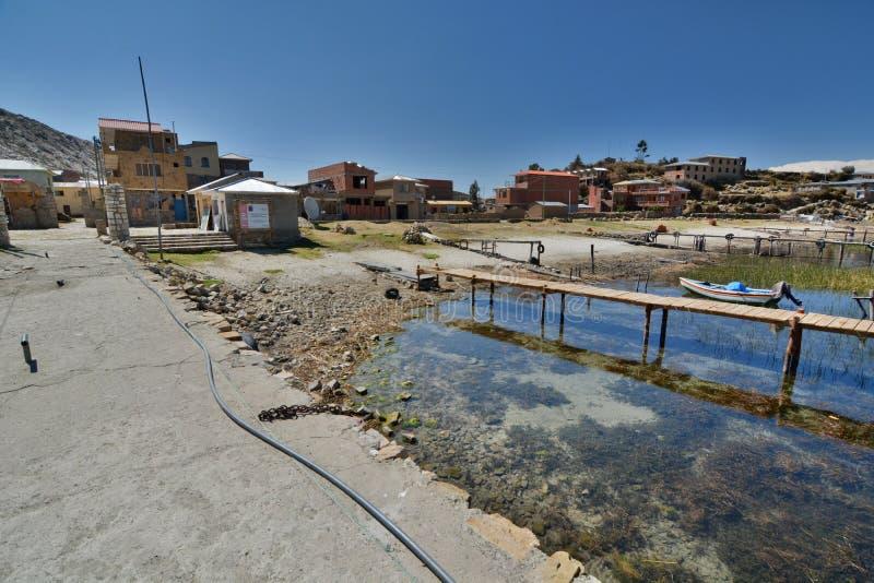 Comunidad Challapampa del isla sol 湖Titicaca 流星锤 库存照片