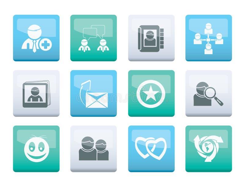 Comunidad de Internet e iconos sociales de la red sobre fondo del color ilustración del vector