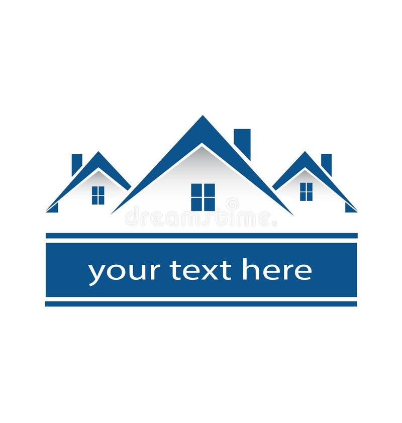 Comunidad del logotipo de casas de ciudad azules ilustración del vector