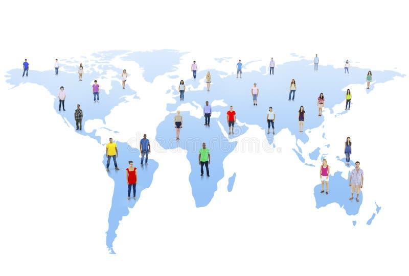 Comunidad del mundo con el mapa del mundo imagenes de archivo