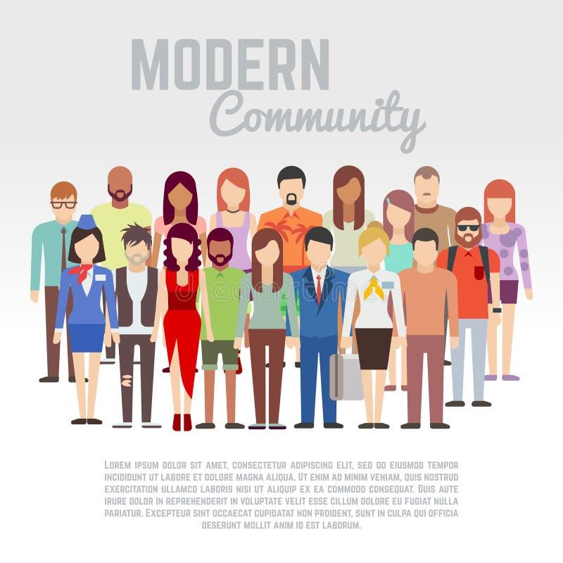 Comunidad del negocio o de la política, miembros de la sociedad, concepto plano del vector del equipo con el grupo de hombres y m ilustración del vector