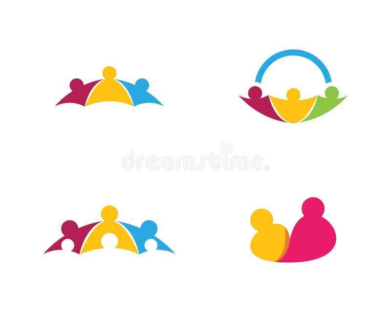Comunidad, red e icono social stock de ilustración