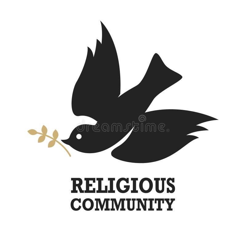 Comunidad religiosa Plantilla del emblema con la paloma Paloma en la luz de la luna stock de ilustración