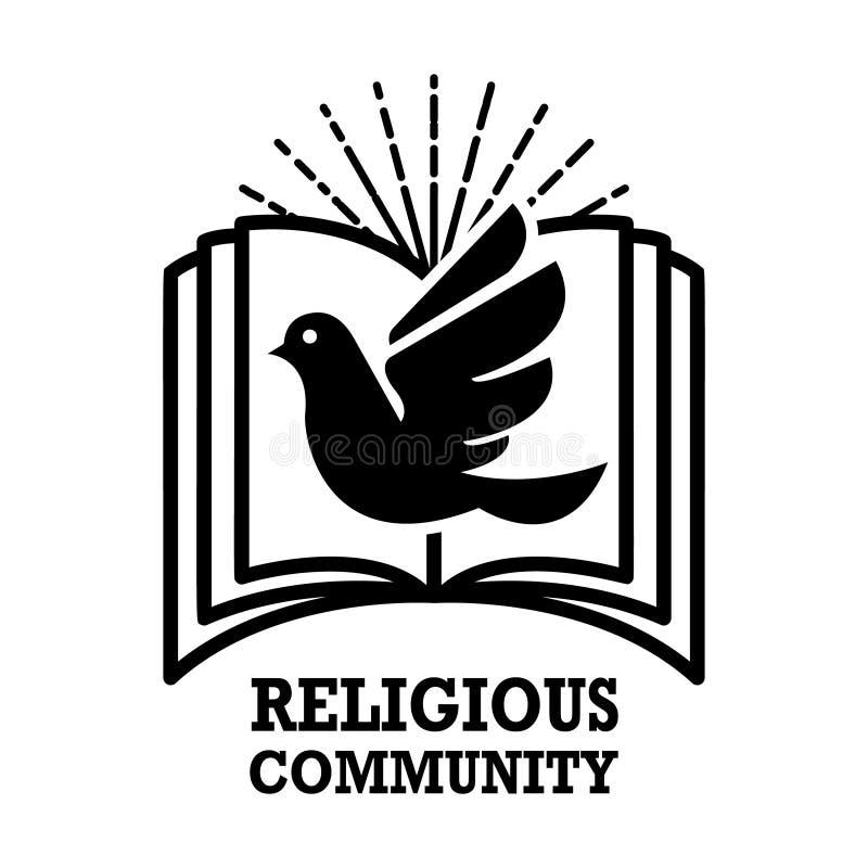 Comunidad religiosa Plantilla del emblema con la Sagrada Biblia y la paloma Diseñe el elemento para el logotipo, etiqueta, emblem ilustración del vector