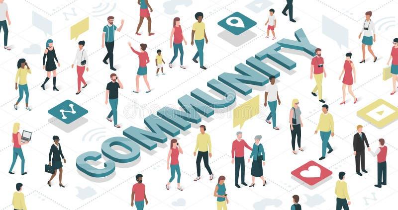 Comunidad virtual stock de ilustración