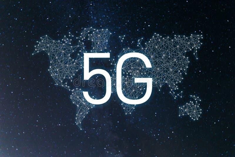 Comunidad y red del mundo concepto inal?mbrico m?vil del negocio de Internet de la red 5G ilustración del vector