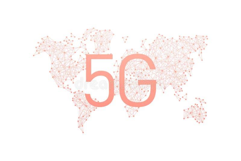 Comunidad y red del mundo concepto inal?mbrico m?vil del negocio de Internet de la red 5G libre illustration