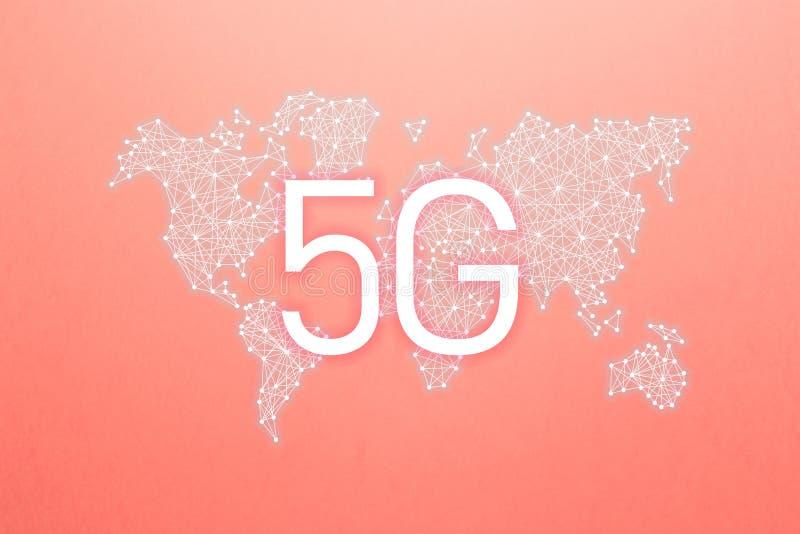 Comunidad y red del mundo concepto inal?mbrico m?vil del negocio de Internet de la red 5G stock de ilustración