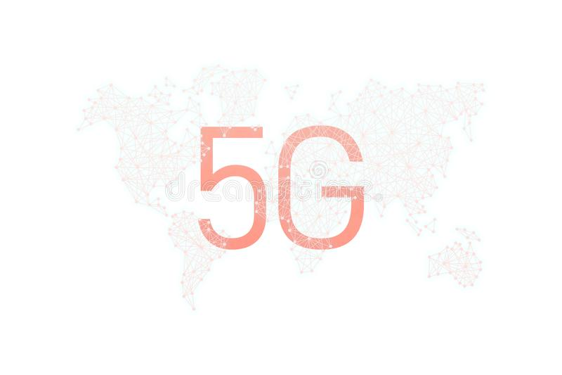 Comunidad y red del mundo concepto inal?mbrico m?vil del negocio de Internet de la red 5G imagen de archivo