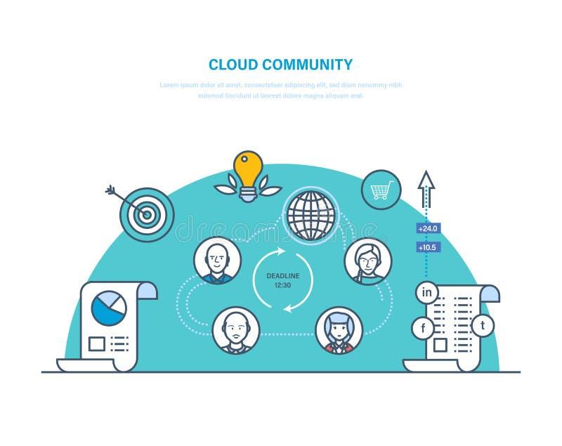 A comunidade da nuvem Parceria, trabalho comum, uma comunicação, atividade social na rede, ilustração royalty free