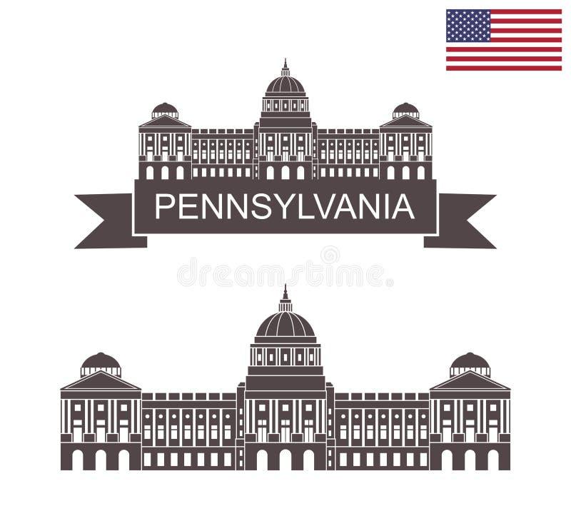 Comunidade de Pensilvânia Capitólio do estado de Pensilvânia em Harrisburg ilustração royalty free