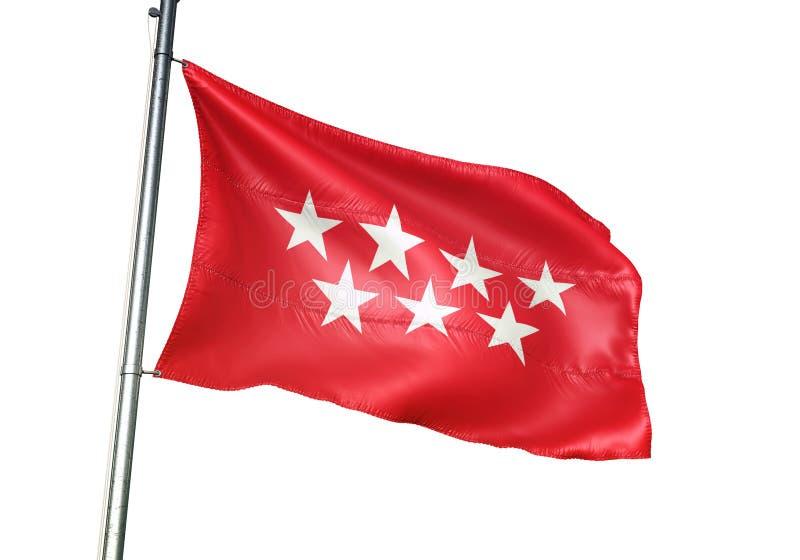 A comunidade do Madri da ondulação da bandeira da Espanha isolada na ilustração 3d realística do fundo branco ilustração royalty free