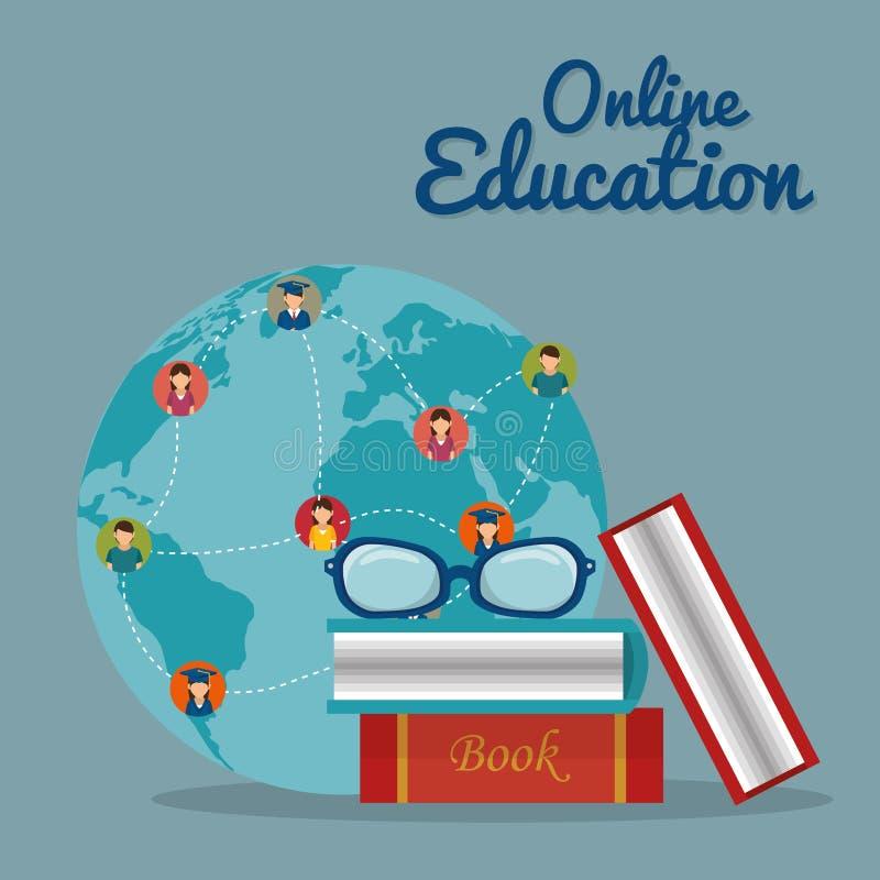 A comunidade do mundo com serviço online da educação ilustração do vetor