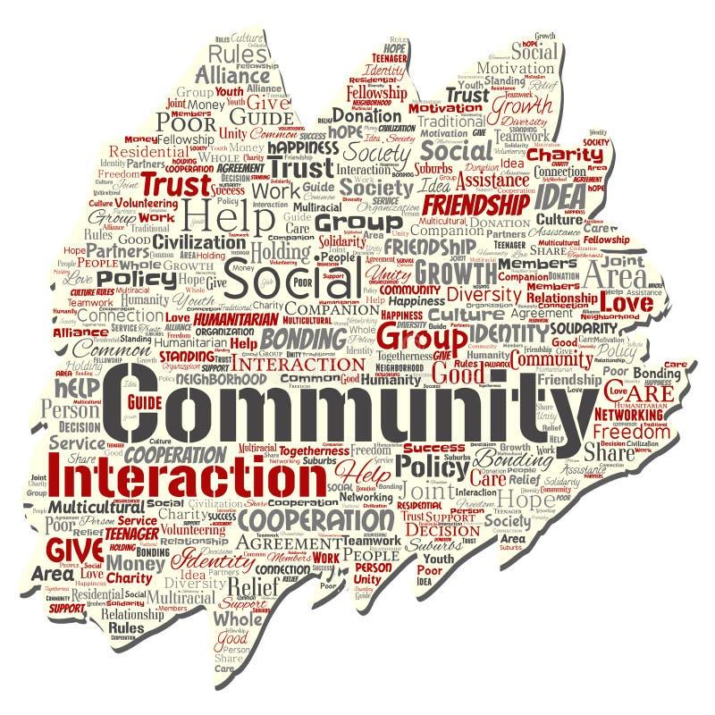 A comunidade do vetor, social, nuvem da palavra da conexão ilustração royalty free
