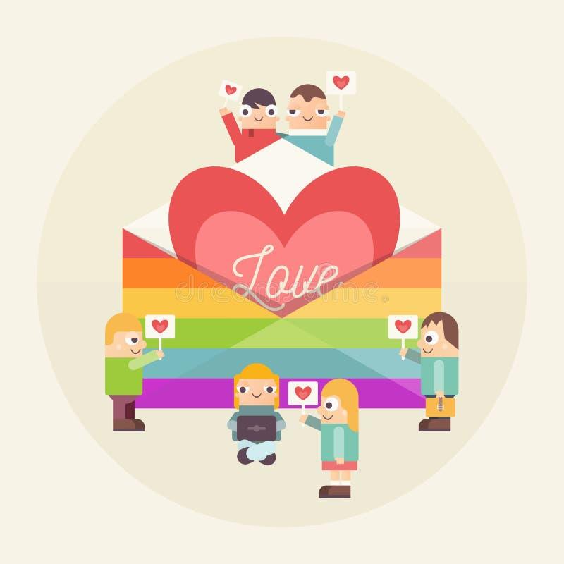 A comunidade dos povos de LGBTQ ilustração do vetor