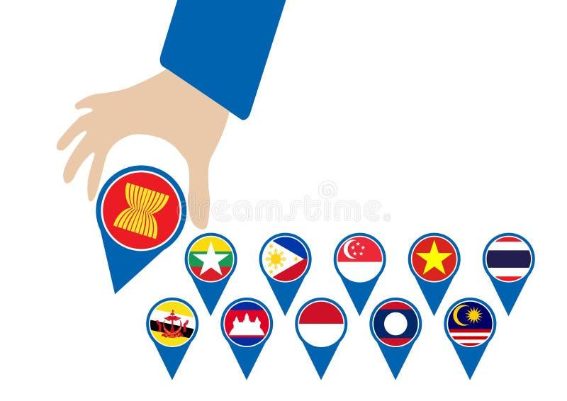 A comunidade econômica do ASEAN, CEA no homem de negócios entrega o pino, para o projeto atual dentro imagens de stock royalty free