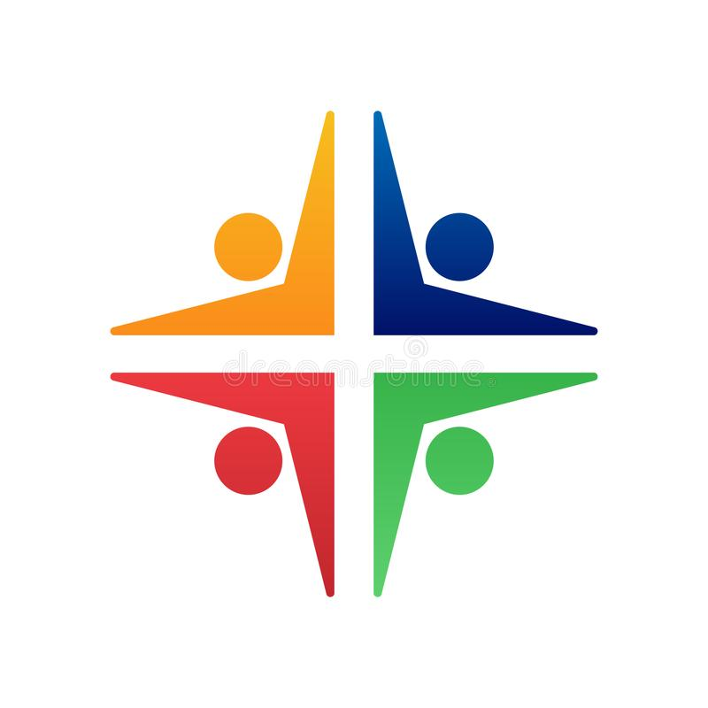 A comunidade Logo Design dos povos ilustração do vetor