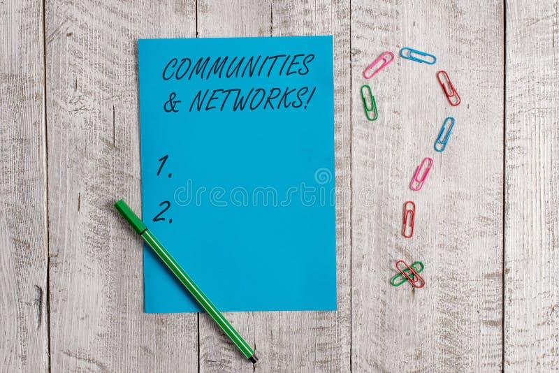 Comunidades y redes del texto de la escritura Concepto que significa la colaboración de aprendizajes y prácticas del pastel de lo imagen de archivo