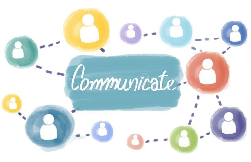Comunique el concepto interactivo de los medios sociales de la conexión libre illustration
