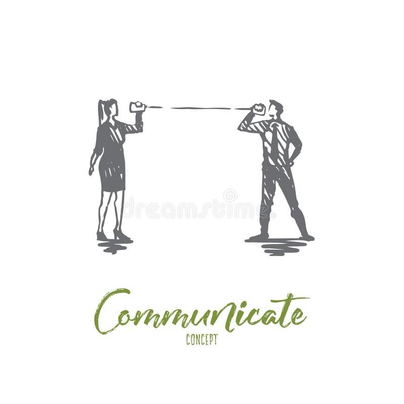 Comunique-se, fale-se, povos, discurso, conceito da conversação Vetor isolado tirado mão ilustração do vetor
