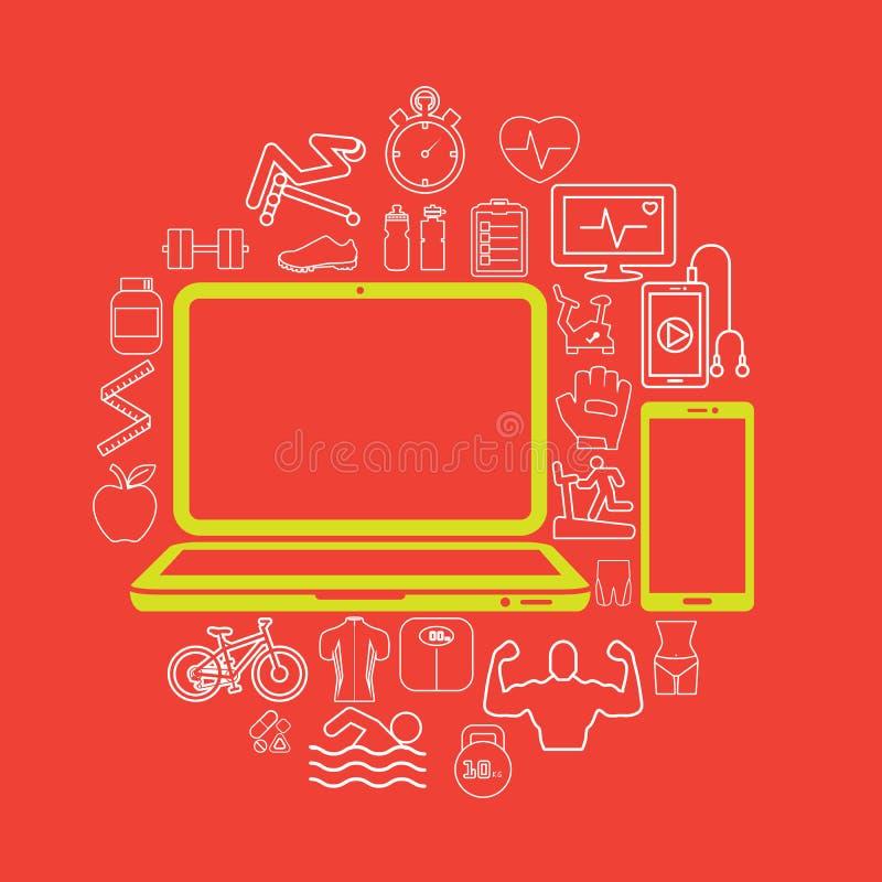 comunique-se na saúde do PC ilustração stock