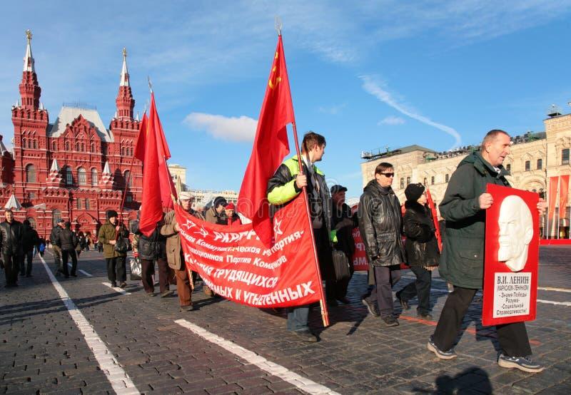 Comunista nella dimostrazione sul quadrato rosso fotografie stock libere da diritti