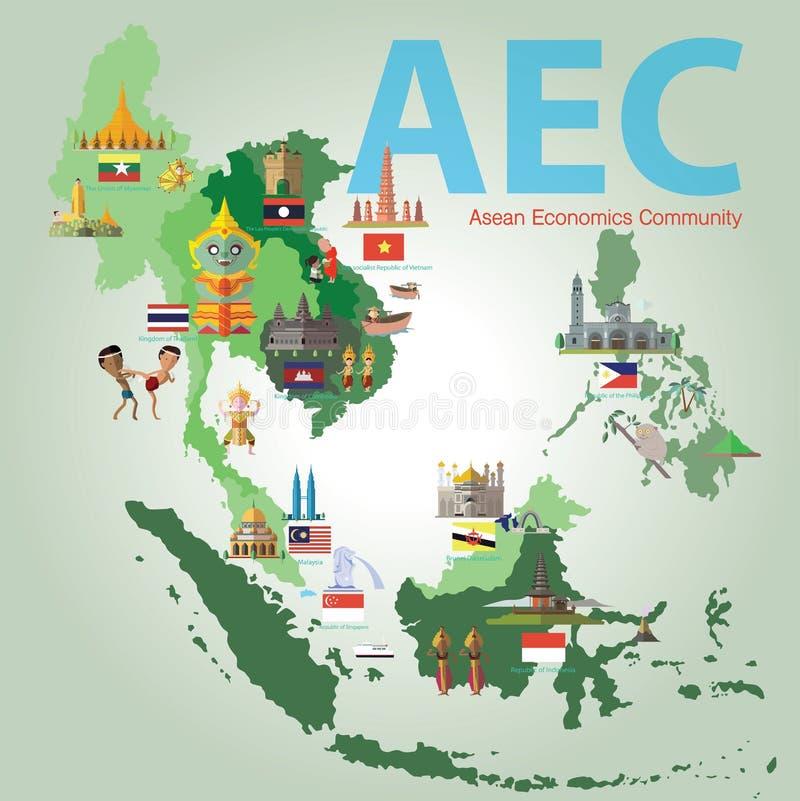 Comunità di economia del Asean (CEA) illustrazione vettoriale