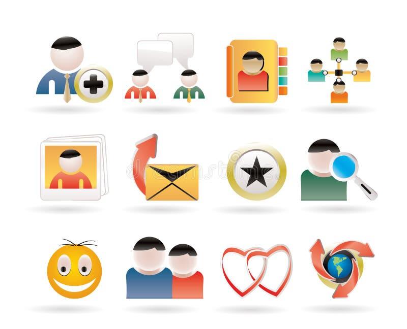 Comunità di Internet ed icone sociali della rete illustrazione di stock
